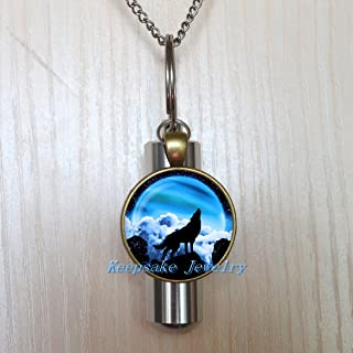 Wolf howling at the moon Urn Necklace Jewelry - Cremation Necklace Jewelry - Ashes Necklace Jewelry - Memorial Jewelry,Wolf howling Cremation souvenir,Memorial Urn