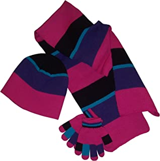 N'Ice Caps Girls Beanie/Scarf/Magic Glove Striped Accessory Set