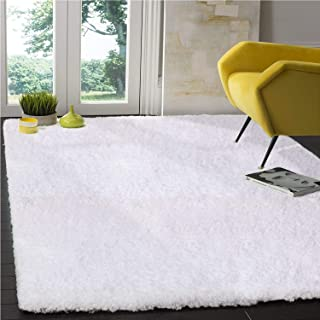 LOCHAS Tufted Shag Collection Living & Bedroom Soft Shaggy, Snow-White, Area Rug(5' x 7.2')