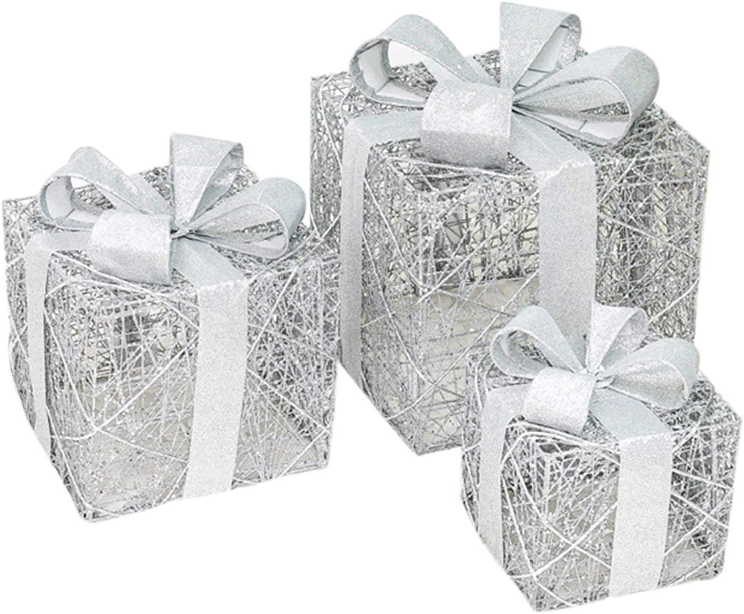 low-pricing FEBUD Set of 3 Christmas Light B Up Lighted mart Gift Boxes