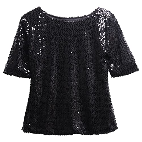 85a2003102fd1 Fairviewer Women Short Sleeve Sequins Embellished Sparkle Tunic Blouse  Shirts Tops
