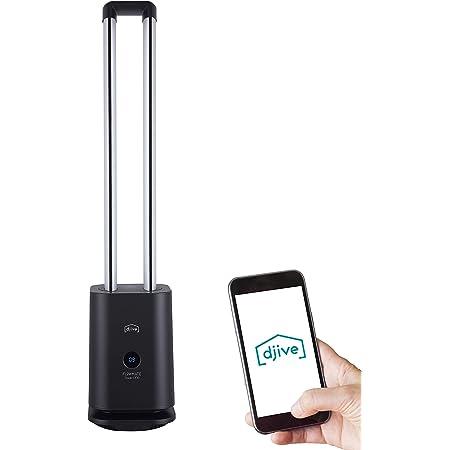 djive Flowmate Tower One Ventilateur tour avec application et commande Alexa, purificateur d'air avec filtre HEPA 12, env. 105 cm de haut, avec télécommande, oscillation 80°, 35 W, anthracite