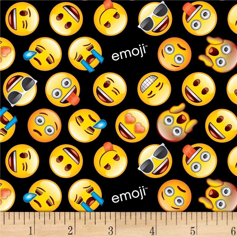 David Textiles Classic Emoji Black/Yellow Fabric Fabric by the Y