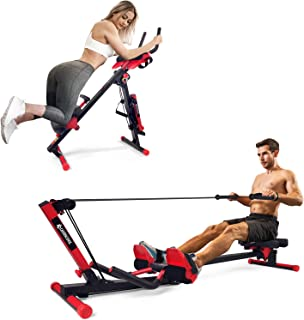 LIONSCOOL 2-in-1 Foldable Rowing and Ab Machine with LCD...