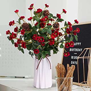YILIYAJIA Rose with Vase Mini Artificial Rose Flowers with Ceramic Vase Cute Flowers Pinecone Centerpieces Decorations for Home Table (Red)