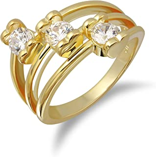 VIVIDJEWELRY Rings for Women 14K Gold Plated Ring with 3 Grade AAA+ Sparkling White Cubic Zirconia on Heart Shaped Prongs