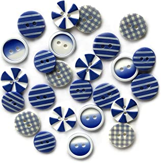 Buttons Galore Printed Craft & Sewing Buttons - House of Blues - Set of 3 Packs Total 60 Buttons