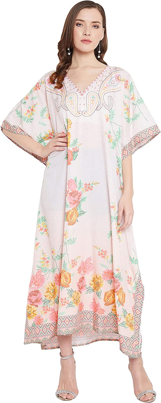 Gypsie Blu Women Long Maxi Plus Size Polyester Kaftan Caftan Gown Beach Party Casual Dress