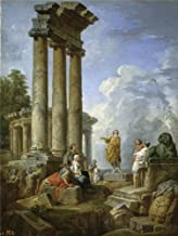 Oil Painting 'Panini Giovanni Paolo Ruinas Con San Pablo Predicando Ca. 1735 ' Printing On High Quality Polyster Canvas , 12 X 16 Inch / 30 X 40 Cm ,the Best Wall Art Gallery Art And Home Gallery Art And Gifts Is This High Definition Art Decorative Canvas Prints