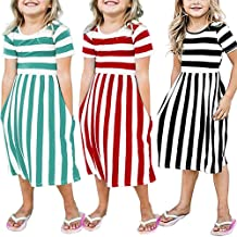 Lurryly Toddler Baby Girls Striped Dress Party Beachwear Dresses Outfits Sundress 6-9T