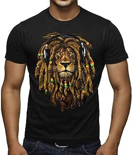 Men's Dreadlock Rasta Lion Headphones Black T-Shirt Black