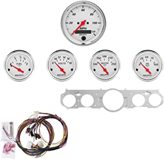 Auto Meter 7035-AW Artic White 5 Gauge Set MPH/OilP/Water/Volt/Fuel Fits Mustang