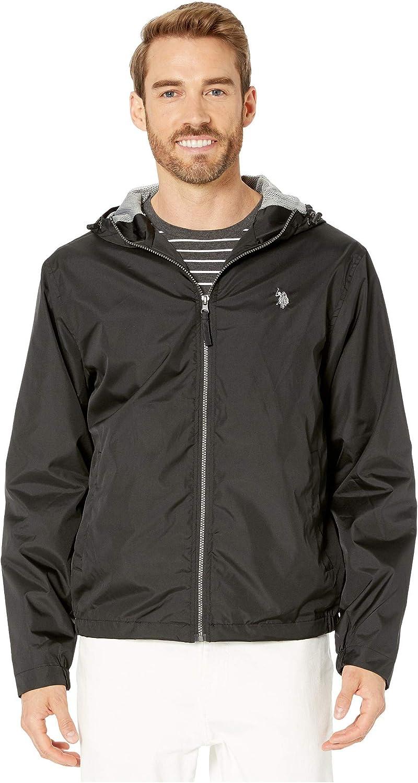 U.S. Polo Assn. Men's Solid Windbreaker Jacket with Fixed Hood