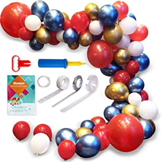 Party Supplies Decorati Balloons for Parties,Garland Latex Balloon Arch Ganland Kit | Red | Blue | Gold | White Balloons for Baby Showers, Weddings, Graduations, Corporate Events, Engagements