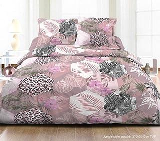 douceur de nuits Housse de Couette Deux Personnes Jungle Style Rose Poudre 220X240 CM 57 Fils + 2 TAIES D'OREILLERS 63X63 ...