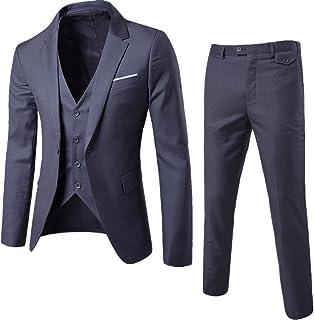WULFUL Men's Suit Slim Fit One Button 3-Piece Suit Blazer Dress Business Wedding Party Jacket Vest & Pants