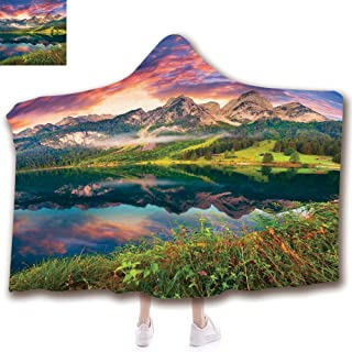 Fashion Blanket Ancient China Decorations Blanket Wearable Hooded Blanket,Unisex Swaddle Blankets for Babies Newborn by,Vorderer Gosausee Lake in the Austrian Alp Mountain,Adult Style Children Style