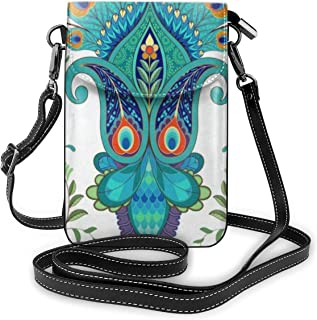 Women Small Crossbody Shoulder BagPaisley Flowers With Peacock FeathersLeather Cellphone Purse Holder