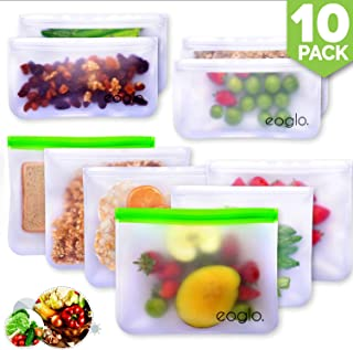 innokitchen Reusable Storage Bags (10 Pack)   To Go + Store + Freeze   Lunch Sandwiches   Kids Food   Snacks and Fruits   Travel Toiletries   EXTRA THICK   LeakProof   Resealable   BPA Free
