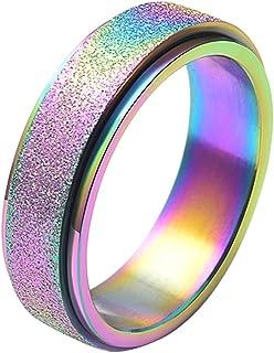 خاتم دوار أنيق من الفولاذ المقاوم للصدأ للرجال والنساء 6 مم 8 مم من ALEXTINA