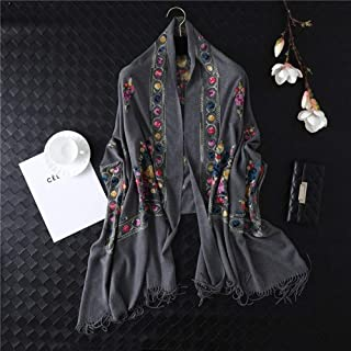 NJTSXLM 1 Pcs Women Scarf Winter Embroidery Cashmere Scarves Lady Shawls and Wraps Female Blanket (Color : Gray)