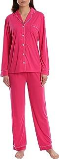 Blis Women's Long Sleeve Buttoned Sleep Shirt & Lounge Pants PJ Set - Ladies Pajamas & Sleepwear