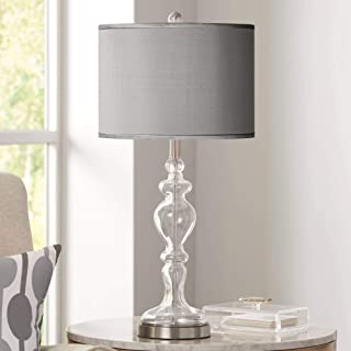 Modern Table Lamp Clear Glass Apothecary Slate Gray Faux Silk Drum Shade for Living Room Family Bedroom Bedside Office - Possini Euro Design