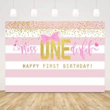 1st Birthday Backdrop Girl Miss Onederful First Birthday Background Pink and Gold Princess 1 Year Old Birthday Backdrop Photography Baby Shower Banner Girl 1st Birthday Photo Props Party Favors 7x5ft