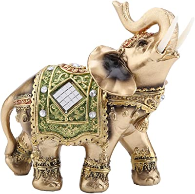 """Feng Shui Brass Color Elegant Elephant Statue 5.5"""" (H) Thai Elephant With Trunk Facing Upwards Collectible Figurine Sculpture Decoration Statue Wealth Lucky Figurine Home Office Decor Gift Green"""