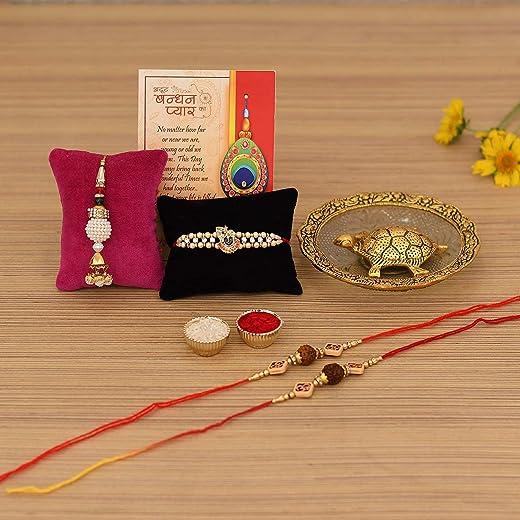 Collectible India Rakhi Combo Set for Brother - Rakshabandhan Gift for Bhaiya Bhabhi - Metal Tortoise Vastu Showpiece, Rudraksha Rakhi, Lumba... 1