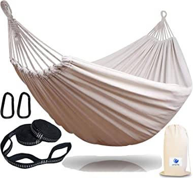 EMERLIC Double & Single Cotton Hammock, Lightweight, Durable 2 Person Hammock for Kids & Adults - Woven Outdoor &
