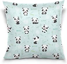 "MASSIKOA Panda Bamboo Decorative Throw Pillow Case Square Cushion Cover 18"" x 18"" for Couch, Bed, Sofa or Patio - Only Cas..."