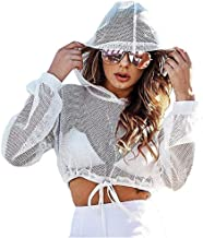 Women Fishnet Hooded Sheer Mesh Crop Top Shirts Rave Festival Clothing Tank Top