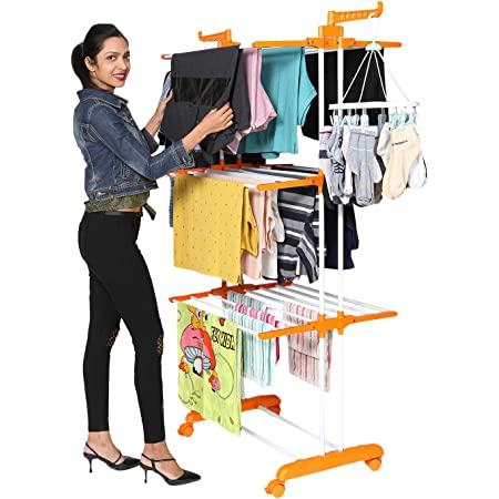 Happer Premium Double Supported 3 Layer Cloth Drying Stand with Breaking Wheels, Prince Jumbo (orange) Stainless Steel Plastic