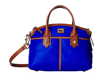 Dooney & Bourke Camden Domed Satchel (French Blue/Dark Chocolate Trim) Satchel Handbags