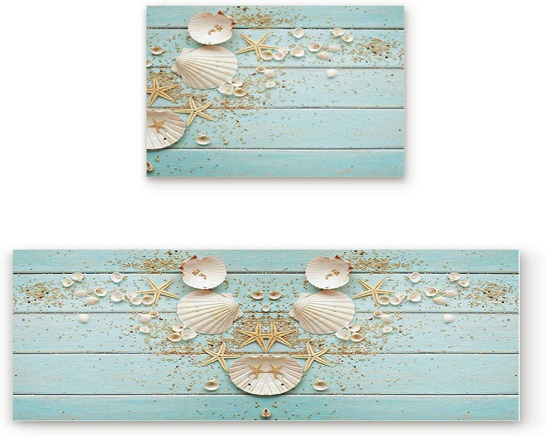 KAROLA 2 Piece Non-Slip Kitchen Mat Doormat Runner Rug Set Thin Low Pile Indoor Area Rugs Beach Theme Seashells 19.7 x31.5 +19.7 x63