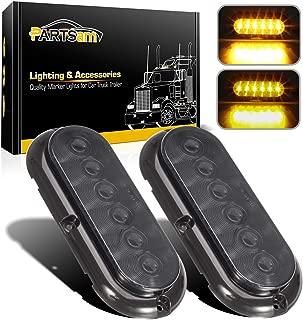Partsam 6 Inch Oval Amber Lights Smoke Lens, 6 LED Surface Mount Oval Smoked Lens/Amber Light Turn Signal Side Marker Tail LED Parking Light for RV Truck Trailer Trail Bus 12V DC