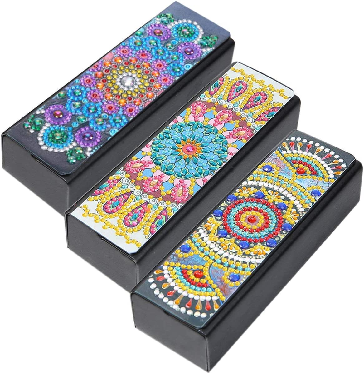 DIY Glasses Case Storage Box 5D Diamond Painting Mandala Alloyseed Leather Sunglasses Organizer for Festival Birthday Gift Handwork 3Pack