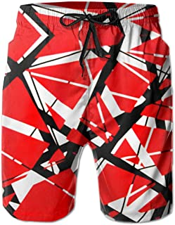 Van A Halen Mens Summer Fation Board Shorts with Mesh Lining Summer Quick Dry Printed