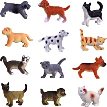 Hunson Mini Cat Dog Figurines (12 PCs) Realistic Looking Cat Kitten Figures Puppy Dog Figures Cupcake Toppers Gift for Boys Girls Cat and Puppy Collection Decoration Party Favors