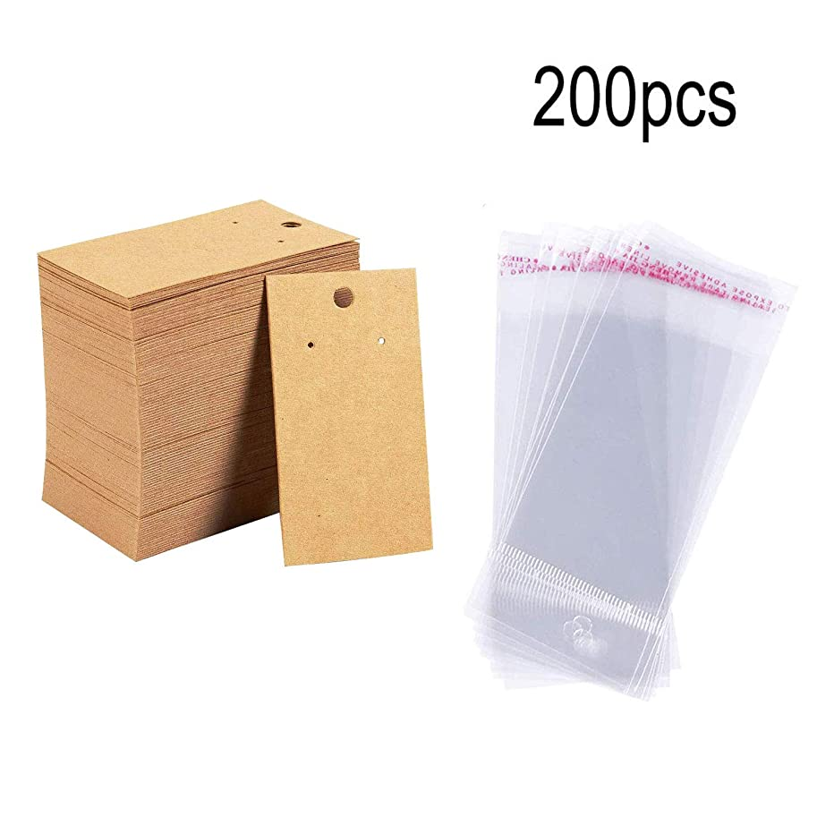 DaNaRaa 200 Pcs Earrings Display Card and Clear Self-Seal Bags, Earring Display Cards for Ear Studs for DIY(Yellow)