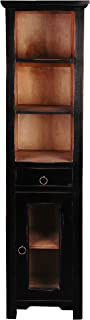 Sunset Trading Shabby Chic Cottage Narrow Cabinet, Antique black with salvage inside