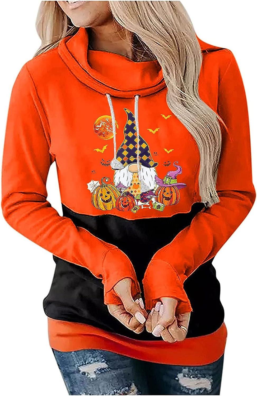 Color Block Hoodies for Women, Halloween Funny Print Long Sleeve Sweatshirt Fashion Tunic Fall Pullover for Teen Girl