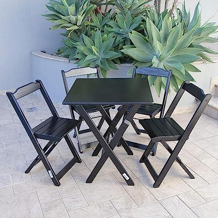 Conjunto Mesa Dobrável 4 Cadeiras Siena Móveis Madeira Maciça   Amazon.com.br
