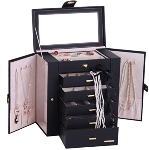 B-AIMS Large Mirror Luxury Jewellery Box Cabinet Necklaces Rings Watch Storage Case Box for Women Men 241 (Black)