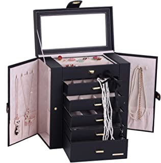 Large Mirror Luxury Jewellery Box Cabinet Necklaces Rings Watch Storage Case Box for Women Men 241 (Black)
