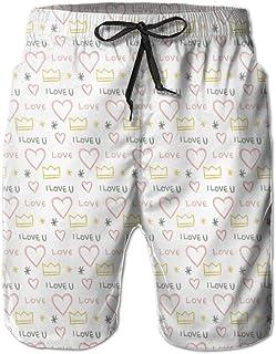 Lixinli Men's I Love You Heart Crown Quick Dry Beach Shorts