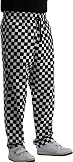 Chefs Black & White Polycotton Checked Trousers with Elasticated Waist (Extra Small - XXXL)