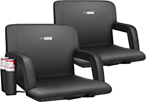 VIVOHOME Portable Reclining Stadium Seat Chairs for Bleachers with Padded Backrest and Adjustable Armrests, Two Pockets for Drinks, Set of 2