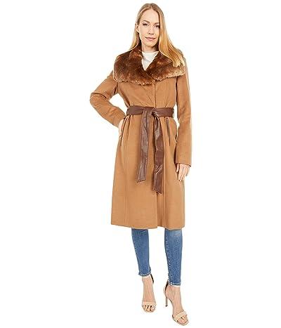 Via Spiga Wool Belted Wrap Coat with Faux Fur Collar (Dark Camel) Women